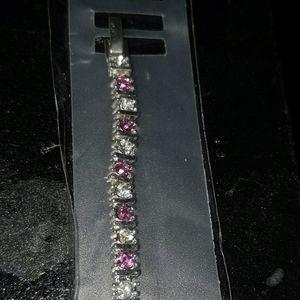 Pink and AB stone bracelet